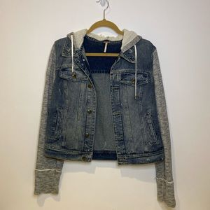 Free people jean jacket hoodie size L